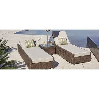 Moda 3-piece Outdoor Chaise Lounger Set Wicker Chairs and Side Table