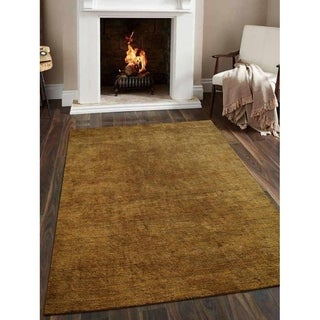 Hand Knotted Gabbeh Silk Solid Area Rug