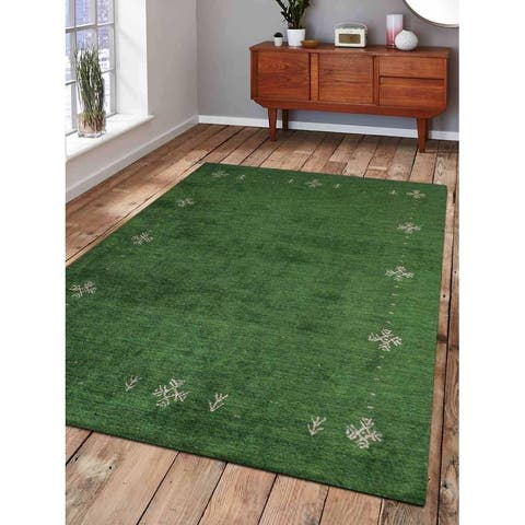 Hand Knotted Gabbeh Silk Contemporary Area Rug