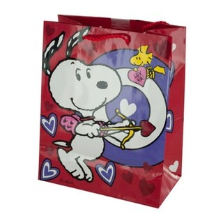 Bulk Buys Snoopy Bullseye Valentine's Paper Gift Bag with Twisted Red Handles - 36 Pack - N/A