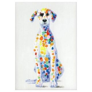 Yosemite Home Decor 'Sun Loving Doggy' Original Multicolor Handpainted Wall Art