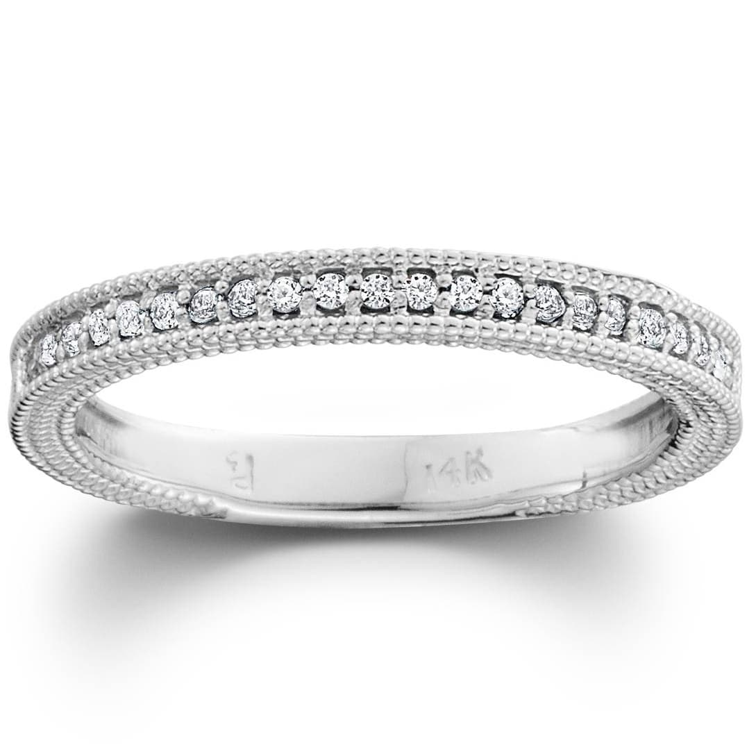 Size-5 1//8 cttw, Diamond Wedding Band in 10K White Gold G-H,I2-I3