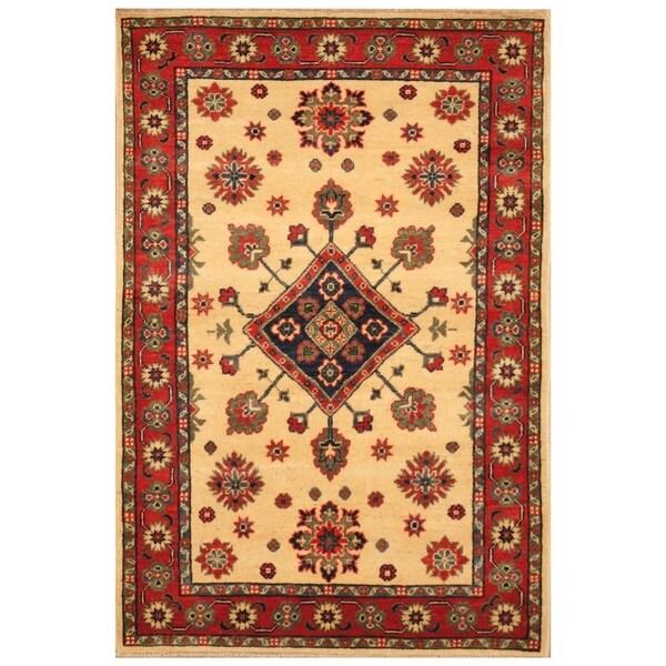 Handmade Kazak Wool Rug (Afghanistan) - 3'4 x 4'10