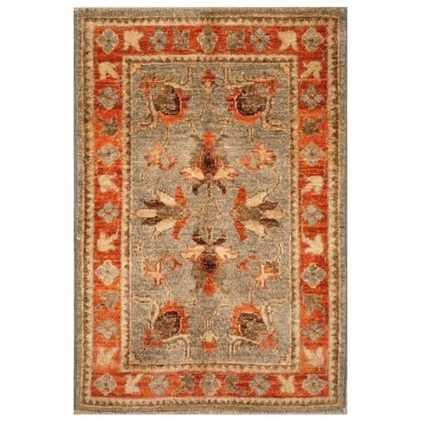 Handmade Vegetable Dye Oushak Wool Rug (Afghanistan) - 2' x 3'1