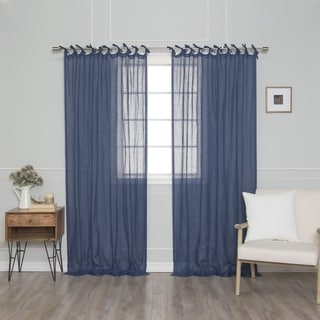 Link to Aurora Home French Linen Tie Top (90 GSM) Single Curtain Panel Similar Items in Window Treatments