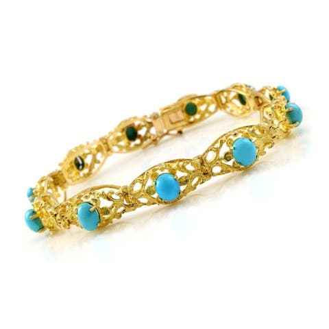 18K Yellow Gold and Turquoise Vintage Line Bracelet (7.5 Inches)