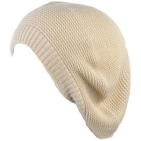 BYOS Chic French Style Lightweight Soft Slouchy Knit Beret Beanie Hat in Solid