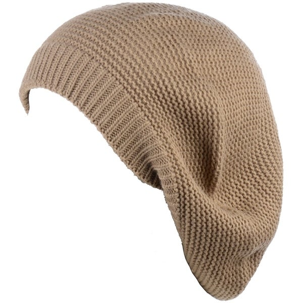 6a660c296624f BYOS Chic French Style Lightweight Soft Slouchy Knit Beret Beanie Hat in  Solid