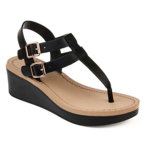b9c3968c004c9 Journee Collection Women's Bianca Faux Leather Dual Strap Buckle Design Wedge  Sandals
