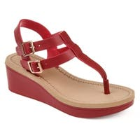 Journee Collection Women's Bianca Faux Leather Dual Strap Buckle Design Wedge Sandals