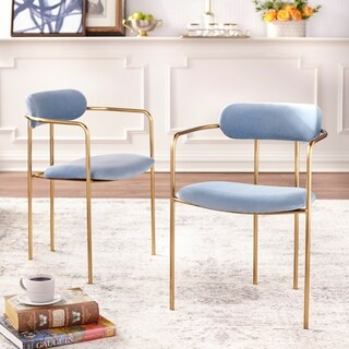 Simple Living Retro Velvet Dining Arm Chair (Set of 2)