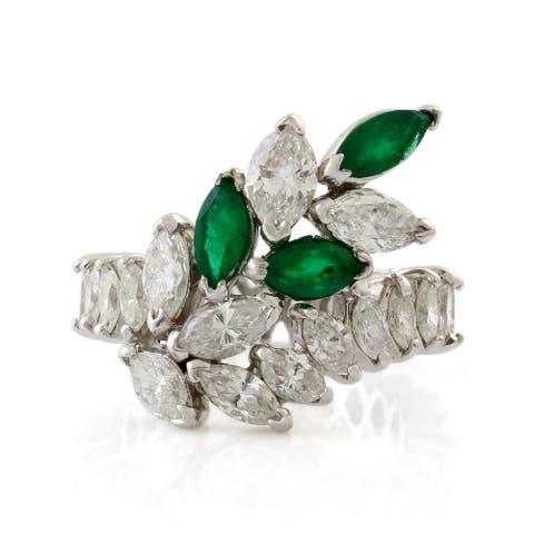 Platinum Diamond and Emerald Eternity Cocktail Ring