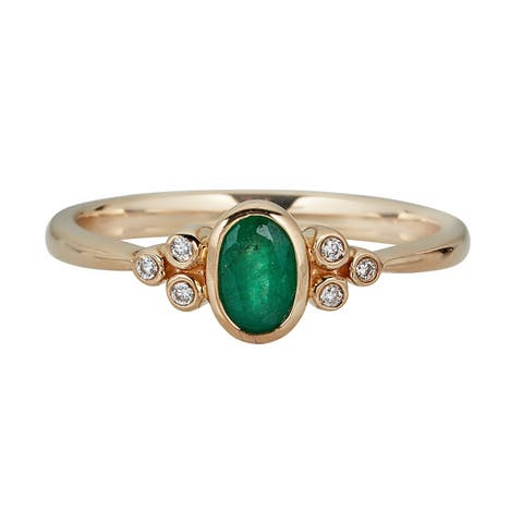 10K YG Emerald & Diamond Ring by Anika and August - White