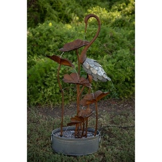 Alpine Rustic Metal Flamingo w/ Flowers Tier Fountain, 45 Inch Tall