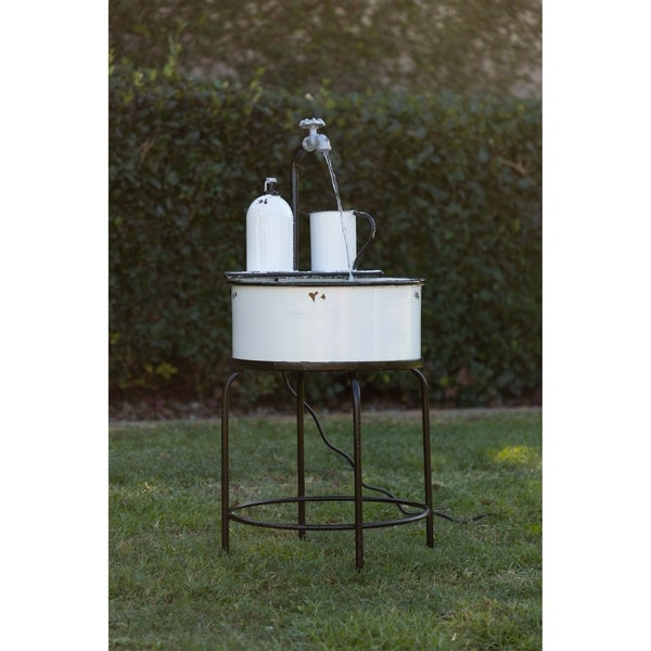 Shop Alpine Antique Vintage Sink Metal Fountain & Stand ... on Outdoor Sink With Stand id=23831