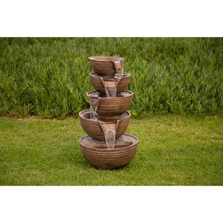 Havenside Home Tulum 5 Bowl Tiered Waterfall Fountain w/LED Light