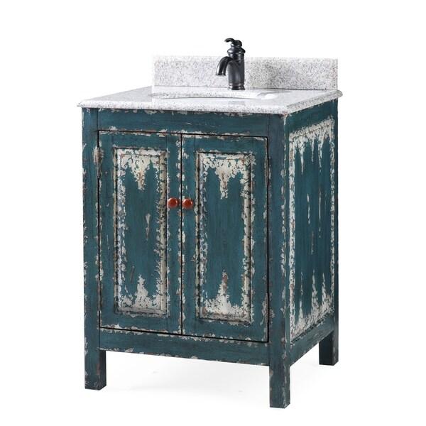 """26"""" Veneto Distressed Green Rustic Bathroom Vanity"""