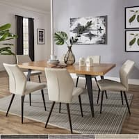 Marlee Black Folded Metal Leg Dining Set with Upholstered Dining Chairs by iNSPIRE Q Modern