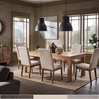 Kashton Reclaimed 96-inch Extending Dining Set with Nailhead Accent Parson Linen Dining Chair by iNSPIRE Q Artisan