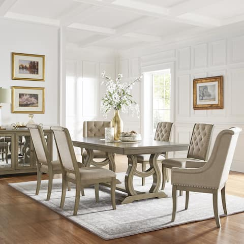 Maizy Trestle Base Dining Table With Extending Leaf Cream Tufted Nailhead Chair By Inspire