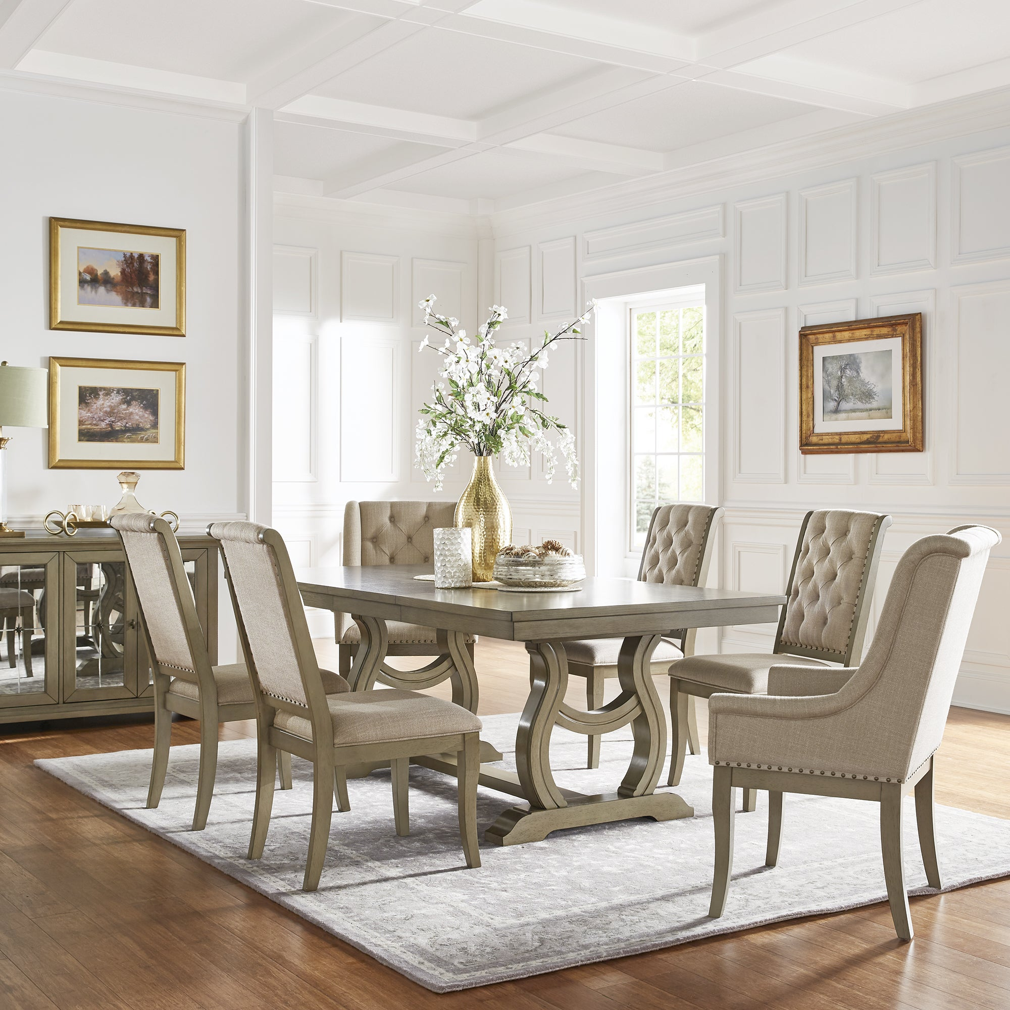 The Gray Barn Camilla Trestle Base Dining Table with Cream Tufted Nailhead  Dining Chair