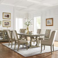 Maizy Trestle Base Dining Table with Extending Leaf with Cream Tufted Nailhead Dining Chair by iNSPIRE Q Artisan