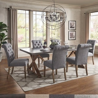 Albee Rectangular Stainless Steel Top Dining Set with Tufted Rolled Back Chairs & Bench by iNSPIRE Q Artisan