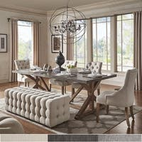 Albee Rectangular Stainless Steel Top Dining Set with Tufted Chairs & Bench by iNSPIRE Q Artisan