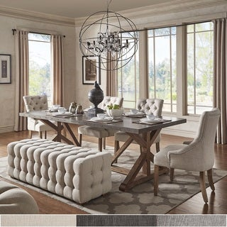 Albee Rectangular Stainless Steel Top Dining Set with Tufted Chairs & Benchby iNSPIRE Q Artisan