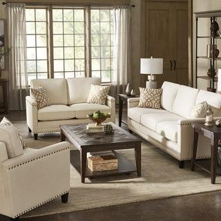 Copper Grove Hersfeld Ivory Fabric Sofa or Loveseat with Nailhead Trim