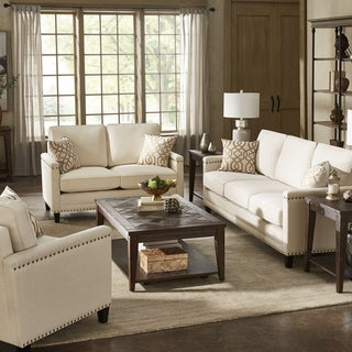 Stoddard Ivory Fabric Seating with Nailhead Trim by iNSPIRE Q Artisan