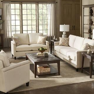 Copper Grove Hersfeld Ivory Fabric Sofa and Loveseat Set with Nailhead Trim