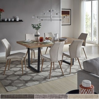 Marlee Metal Sled Base Dining Set with Upholstered Dining Chairs by iNSPIRE Q Modern