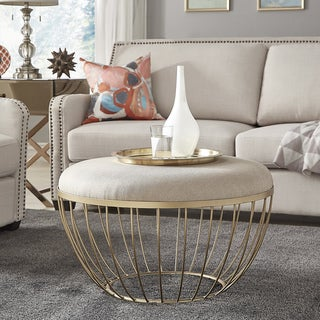 Link to Carson Carrington Ilstorp Beige Linen Ottoman Similar Items in Accent Chairs