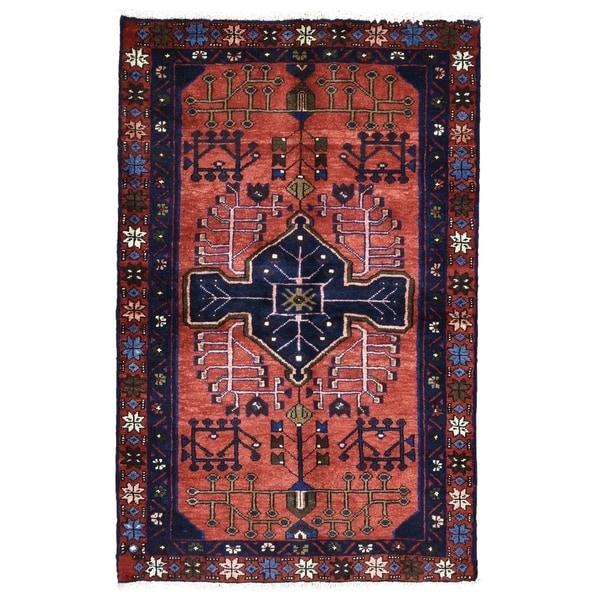 """Handmade Semi Antique Persian Hamadan Rug - 3' x 4'7"""""""