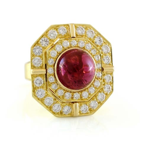 18k Yellow Gold 5ct Carbon Red Tourmaline Diamond Vintage Ring (G - H,VS1 - VS2) Size - 4.75