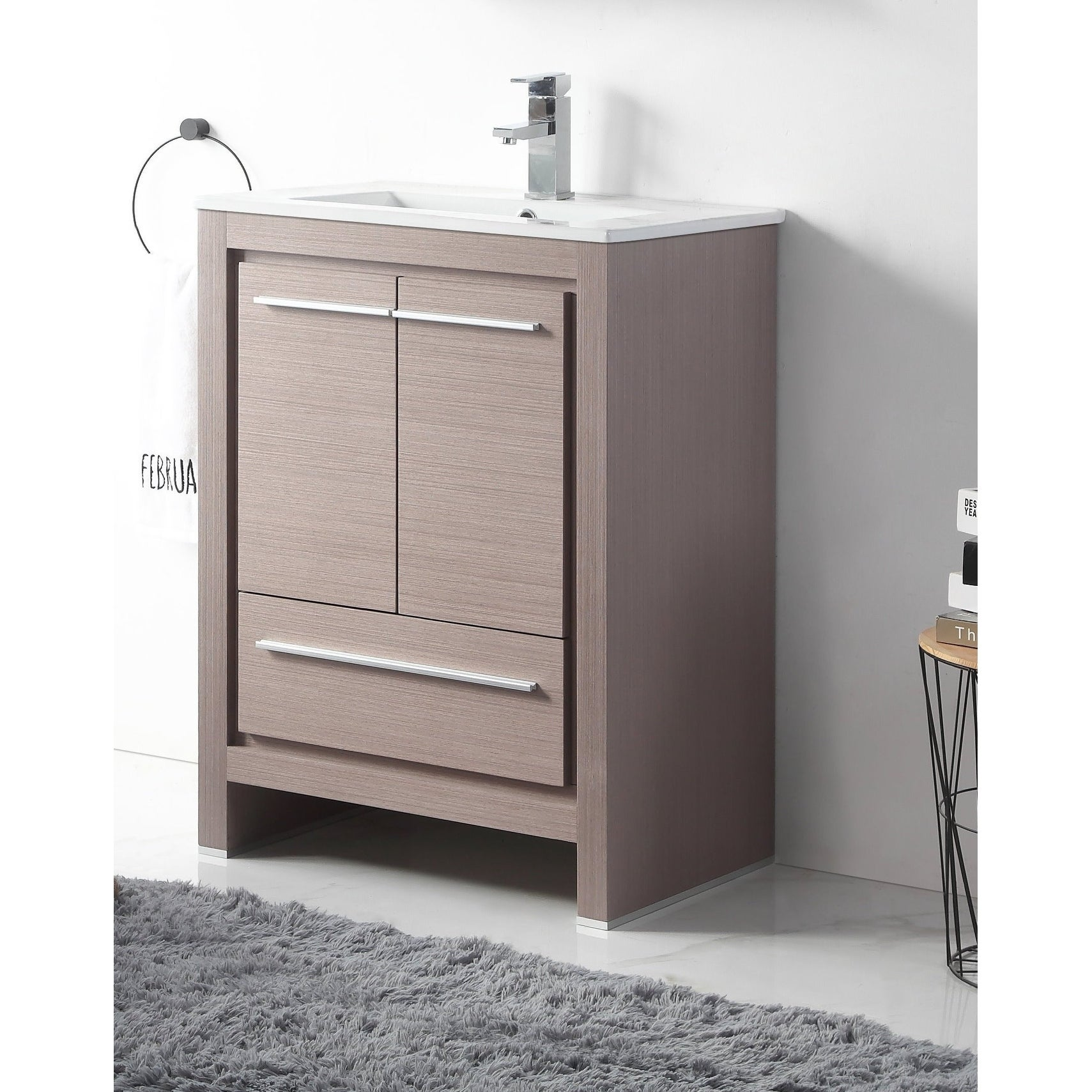 24 Viara Gray Oak Slim Small Modern Bathroom Vanity On Sale Overstock 26279536