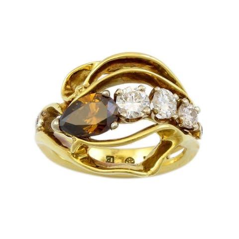 18K Yellow Gold Fancy Cognac Diamond Cocktail Ring (Cognac,I-J)