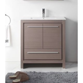 "30"" Viara Gray Oak Modern Contemporary Bathroom Vanity"