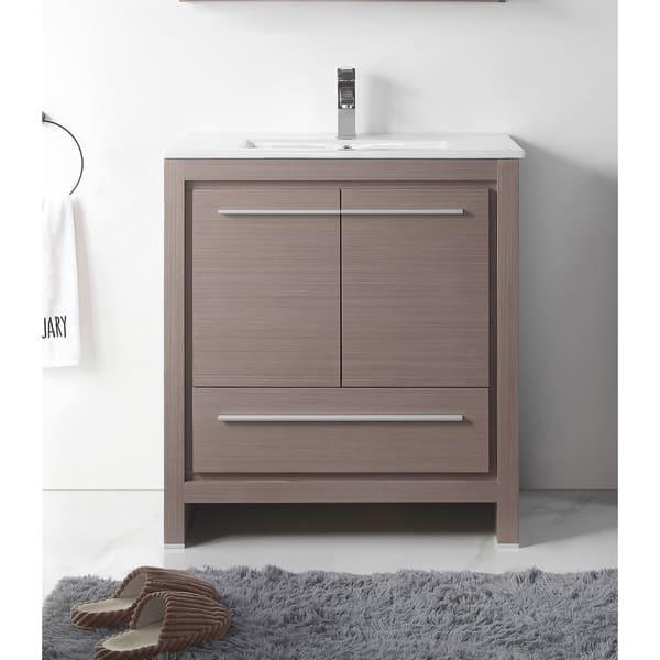 30 Viara Gray Oak Modern Contemporary Bathroom Vanity Overstock 26279590
