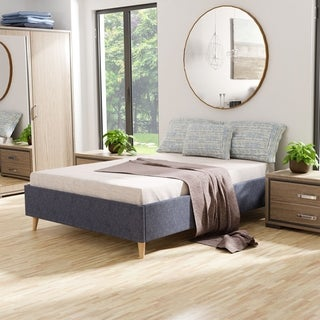 Keenum Mid-century Modern Fabric Queen-size Platform Bed by FOA