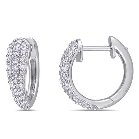 Miadora 14k White Gold 1ct TDW Diamond Cluster Huggie Hoop Earrings