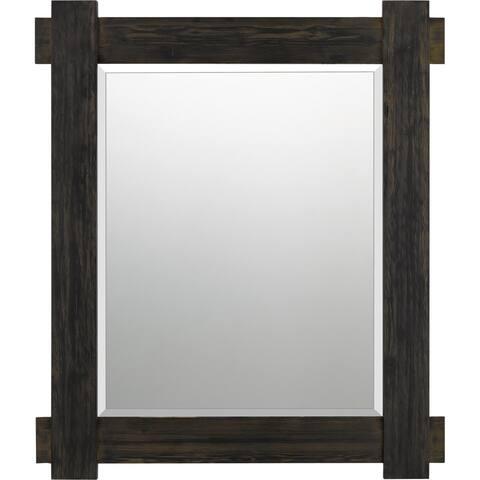 Quoizel Woodruff Brown Rectangular Wall Mirror