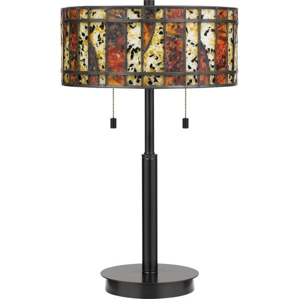 Shop Quoizel Dawes Earth Black 2 Light Tiffany Table Lamp Free
