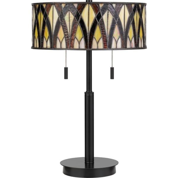 Shop Quoizel Anastasia Earth Black 2 Light Tiffany Table Lamp Free