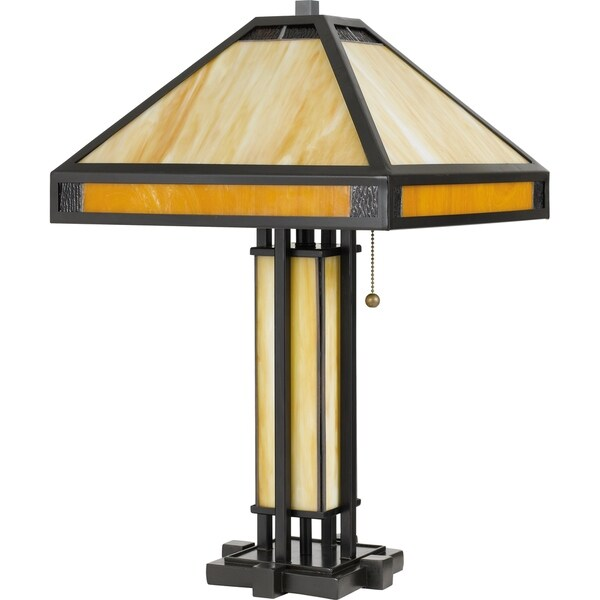 Shop Quoizel Severance Vintage Bronze 3 Light Tiffany Table Lamp