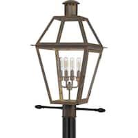 Quoizel Rue De Royal Industrial Bronze 4-light Outdoor Post Lantern