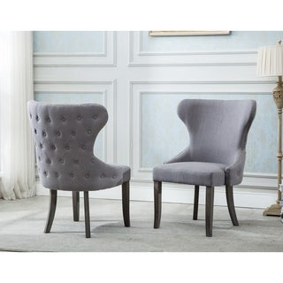 Best Quality Furniture Button Tufts Wingback Dining Chair (Set of 2)