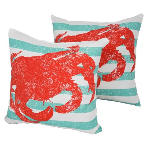 Solarium King Crab 17-inch Indoor/Outdoor Throw Pillows (Set of 2)