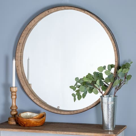 The Curated Nomad Balance Round Wood Wall Mirror - Brown